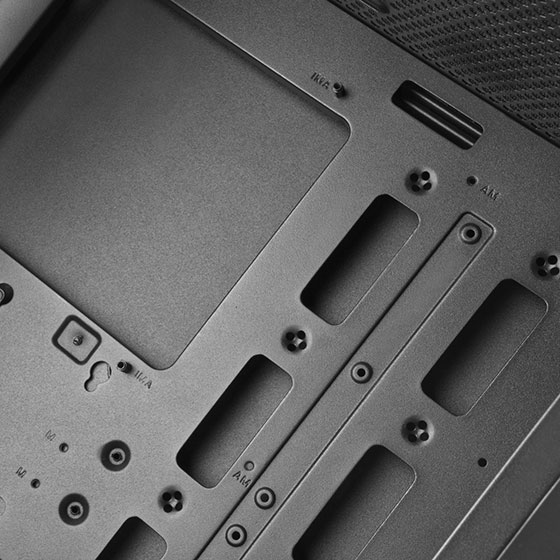Large cutout on motherboard tray for CPU back plate mounting