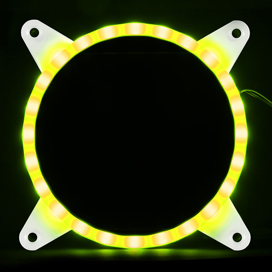 Displays any color by use of an addressable RGB LED control box or capable motherboard (Yellow)