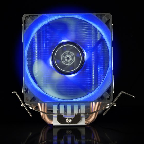 Front view with blue LED fan illuminated