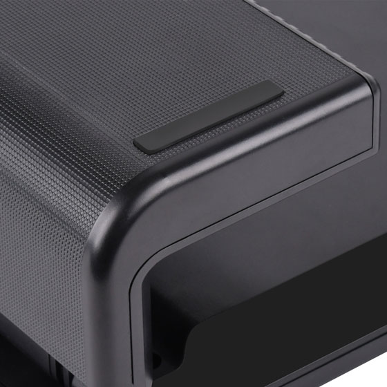 Protective stands prevent desktop surface from scratching