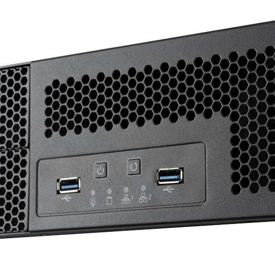 Front I/O port includes: Power On / Off, Reset and USB 3.1 Gen 1 Type-A x 2